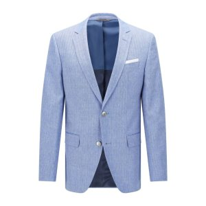 'Hutsons' | Slim Fit, Italian Virgin Wool Linen Sport Coat