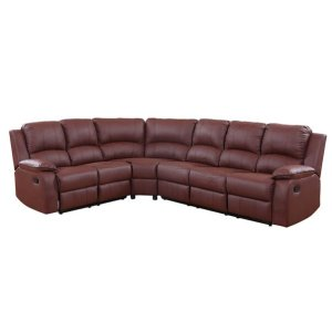 Bond Classic Bonded Leather Recliner Sectional | Sofamania.com