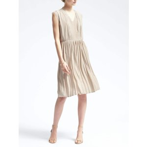 Lace-Trim Pleated Dress | Banana Republic
