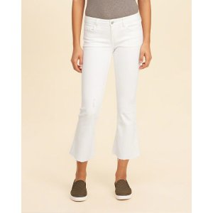 Girls Low-Rise Crop Flare Jeans | Girls Bottoms | HollisterCo.com