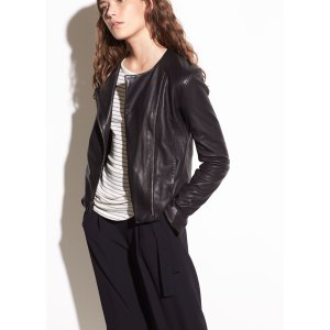 Cross Front Washed-Leather Jacket