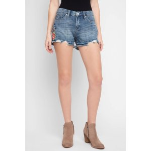 Blank Embroidered Ripped Denim Shorts
