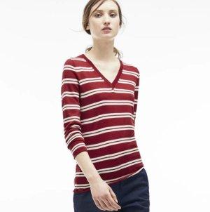$66.99($135)Lacoste Women's Wool Jersey Striped V-Neck Sweater