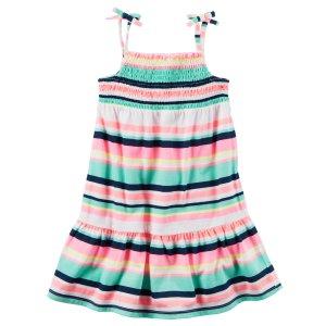 Toddler Girl Neon Striped Jersey Dress | Carters.com