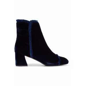 On The Fringe velvet ankle boots