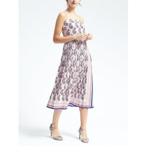 Paisley Pleated Maxi Dress | Banana Republic