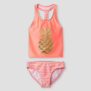 Girls' Tankini Sparkle Pineapple Cat & Jack™ - Coral : Target