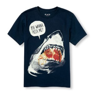 Boys Short Sleeve Glow-In-The-Dark 'You Wanna Pizza Me' Shark Graphic Tee | The Children's Place