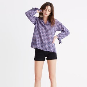 Tie-Sleeve Popover Top in Whitby Plaid
