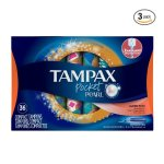 Tampax Pocket Pearl Plastic Tampons, Super Plus Absorbency, Unscented, 36 Count - Pack of 3