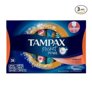 $16.47Tampax Pocket Pearl Plastic Tampons, Super Plus Absorbency, Unscented, 36 Count - Pack of 3