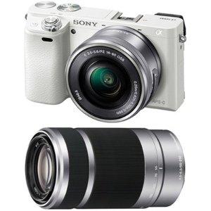 Alpha a6000 Mirrorless Camera w/ Lenses Bundle(White+Silver)
