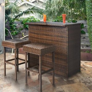 3PC Wicker Bar Set Patio Outdoor Backyard Table & 2 Stools Rattan Garden Furniture