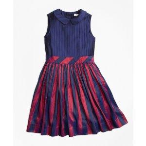 Sleeveless Stripe Silk Dress - Brooks Brothers