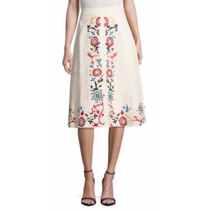 Alice + Olivia - Gieselle Embroidered Leather Skirt - saksoff5th.com
