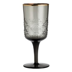 Texture-patterned Wine Glass | Charcoal gray | H&m home | H&M US