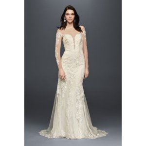 Long Sleeve Illusion Lace Wedding Dress - Davids Bridal