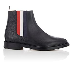 Striped-Gore Leather Chelsea Boots