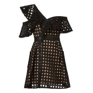 Guipure Black Frill Mini Dress