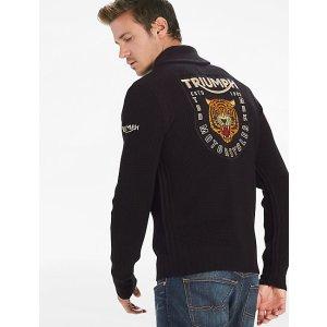 Triumph Tiger Full Zip Sweater   Lucky Brand