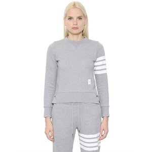 THOM BROWNE - INTARSIA COTTON JERSEY SWEATSHIRT