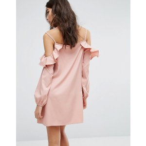 PrettyLittleThing Cold Shoulder Frill Swing Dress