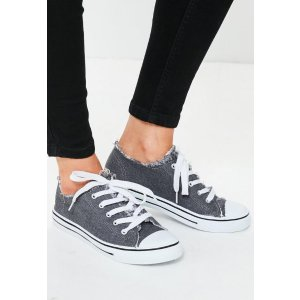 Grey Frayed Top Lace Up Sneakers - Missguided