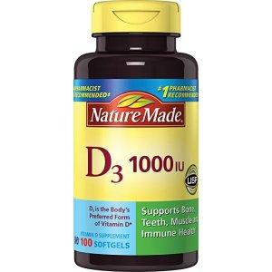Nature Made, Vitamin D3 1,000 I.u. Liquid Softgels, 100-Count: Health & Personal Care