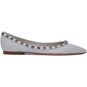Valentino: Grey Rockstud Ballerina Flats | SSENSE