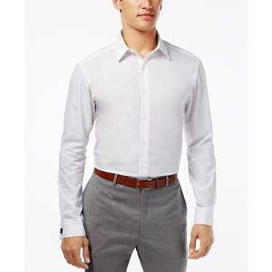 Alfani Fitted Solid Performance Stretch Easy Care French Cuff Shirt - Dress Shirts - Men - Macy's