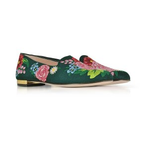 Charlotte Olympia Rose Garden Multicolor Embroidered Canvas Slipper 35 IT/EU at FORZIERI