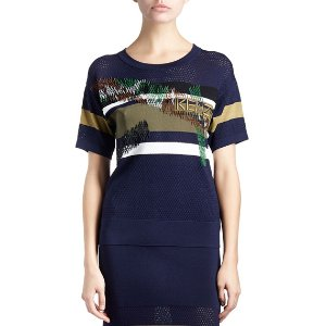 Kenzo Beaded Camo Mesh Tee & Striped-Trim Midi Skirt