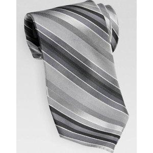 Calvin Klein Gray Stripe Narrow Tie - Men's Regular Length Ties | Men's Wearhouse
