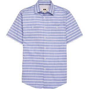 Joseph Abboud Tailored Fit Blue Stripe Short Sleeve Sportshirt Big and Tall CLEARANCE