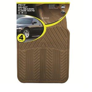 Pilot Automotive All Season 4 pc. Rubber Floor Mat Set - Tan