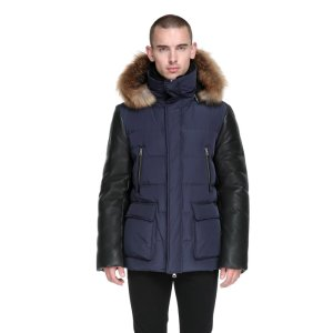 GAVIN-F5 DOWN COAT WITH LEATHER SLEEVES