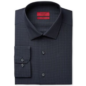 Alfani Men's Fitted Performance Stretch Easy Care Black Micro Windowpane-Check Dress Shirt, Only at Macy's - Dress Shirts - Men - Macy's