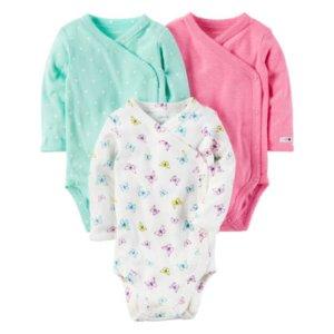 Carter's Little Baby Basics Girl 3-Pack Side Snap Bodysuits - JCPenney