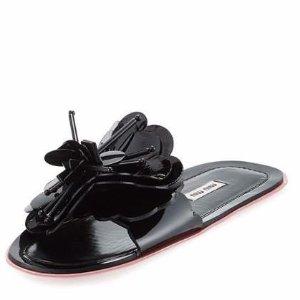 Miu Miu Runway Flower Flat Slide Sandal, Black/Rose