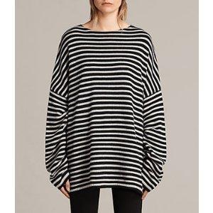 ALLSAINTS US: Womens Marcel Crew Sweater (INK/ECRU WHITE)