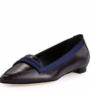 Manolo Blahnik Salute Grosgrain-Trim Leather Loafer