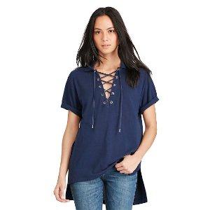 Lace-Up Mesh Boyfriend Polo - Polo Shirts � Women - RalphLauren.com