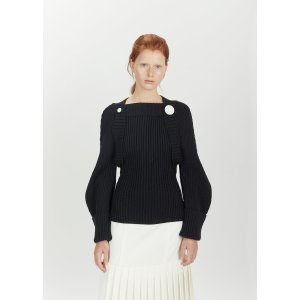 Buttoned Balloon Sleeve Wool Sweater