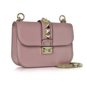 Valentino Lipstick Leather Glam Lock Shoulder Bag at FORZIERI