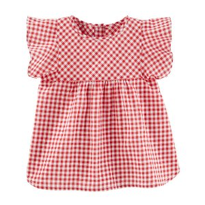 Toddler Girl Ruffle Sleeve Gingham Top | OshKosh.com