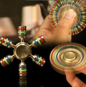 Tenergy Heavy Duty Brass Premium Fidget Spinner, Stainless Steel Bearing, 3+ Minutes Spinning, Rainbow Color Design