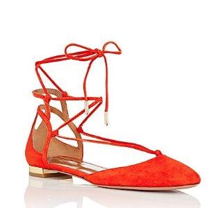 AQUAZZURA Austin Ankle-Tie Flats