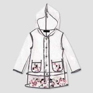 Toddler Girls' Clear Flower Appliqué Raincoat - Victoria Beckham for Target