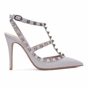 Valentino Grey Rockstud Cage Heels