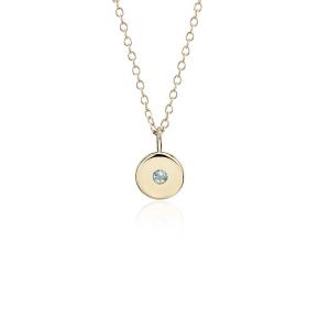 Mini Aquamarine Birthstone Charm Pendant in 14k Yellow Gold - March (2mm) | Blue Nile